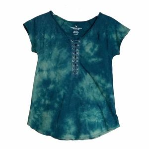 💥3/$20💥 American Eagle Tie Dye Lace Up Tee